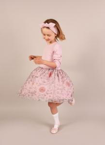 DRESS WITH TULLE- MAZOVIAN FLOWERS DUSTY PINK