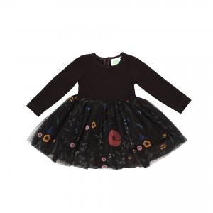 TULLE DRESS MAZOVIAN FLOWERS- BLACK