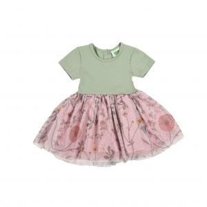 DRESS WITH TULLE-MAZOVIAN FLOWERS POWDER MINT